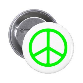 Signo de la paz verde claro pin redondo de 2 pulgadas