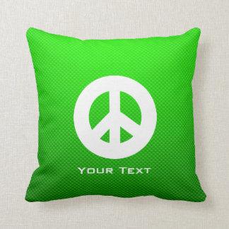 Signo de la paz verde cojines