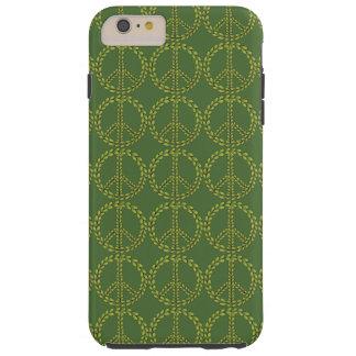 Signo de la paz verde con el modelo de las hojas funda para iPhone 6 plus tough