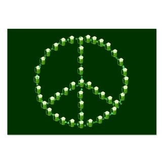 Signo de la paz verde de la cerveza tarjetas de visita grandes