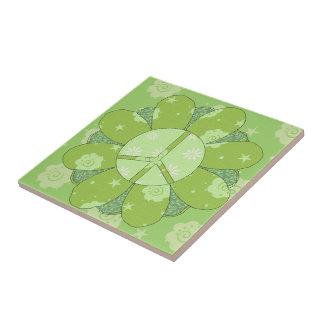 Signo de la paz verde de la flor azulejo cuadrado pequeño