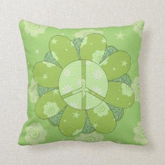 Signo de la paz verde de la flor cojin