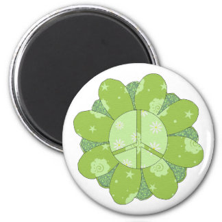 Signo de la paz verde de la flor imán redondo 5 cm