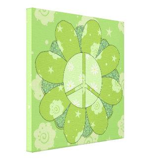 Signo de la paz verde de la flor impresiones en lona