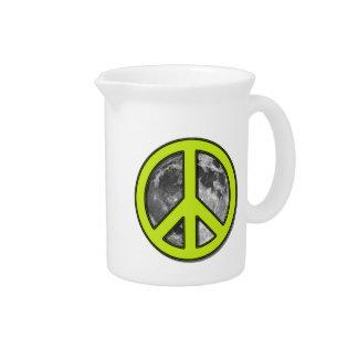 Signo de la paz verde de la luna - jarras
