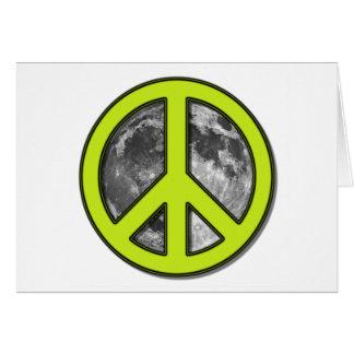 Signo de la paz verde de la luna - tarjeta de felicitación