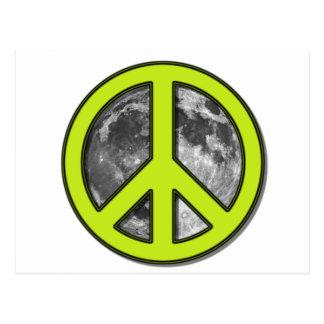 Signo de la paz verde de la luna - tarjeta postal