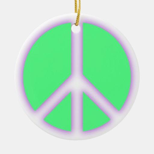 Signo de la paz verde ornamento para arbol de navidad
