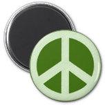 Signo de la paz verde en colores pastel imanes para frigoríficos