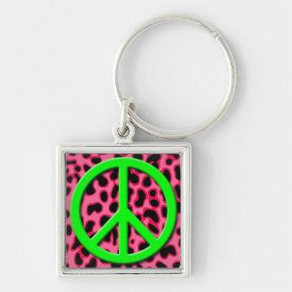 Signo de la paz verde en modelo animal rosado llavero cuadrado plateado