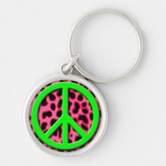 Signo de la paz verde en modelo animal rosado llavero redondo plateado