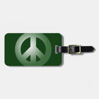 Signo de la paz verde etiqueta para maleta