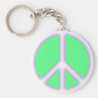 Signo de la paz verde llavero personalizado