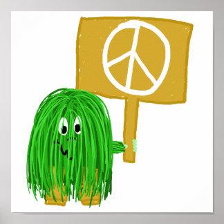 Signo de la paz verde poster
