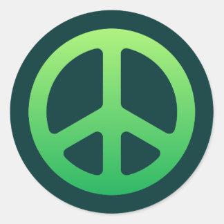 Signo de la paz verde etiquetas redondas