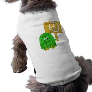 Signo de la paz verde playera sin mangas para perro