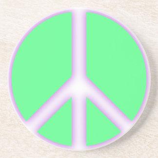 Signo de la paz verde posavasos personalizados