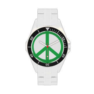 Signo de la paz verde reloj