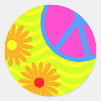 signo de la paz y flores del Hippie de los años 70 Pegatina Redonda