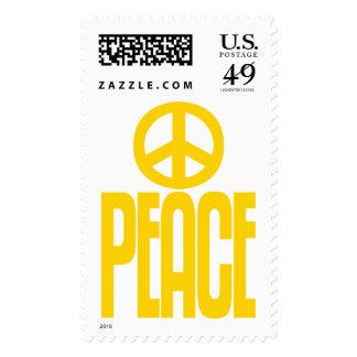 Signo de la paz y texto amarillos brillantes, sello
