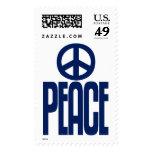 Signo de la paz y texto azul marino, sello