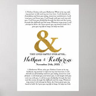 """Signo """"&"""" del oro de los votos de boda feliz póster"""