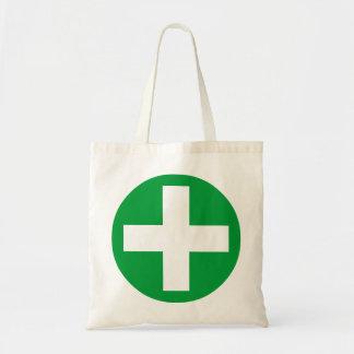Signo más en blanco con verde bolsa tela barata