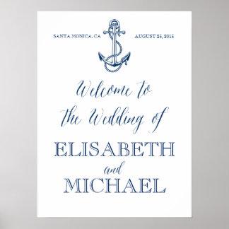 Signo positivo, azules marinos y blanco náuticos póster