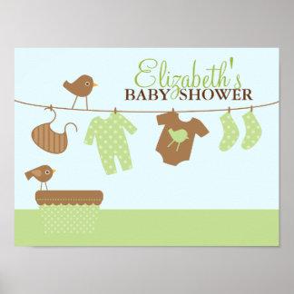 Signo positivo de la fiesta de bienvenida al bebé  póster