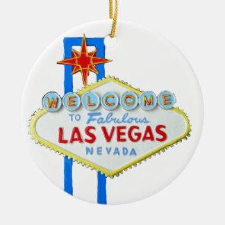 Signo positivo de Las Vegas Adorno Navideño Redondo De Cerámica