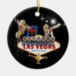 Signo positivo de Las Vegas en fondo estrellado Adorno De Reyes