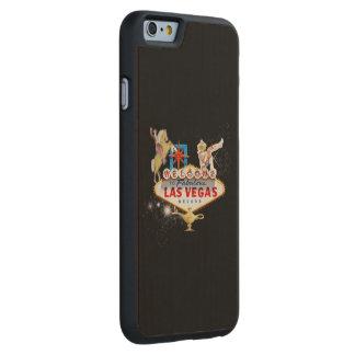 Signo positivo de Las Vegas en fondo estrellado Funda De iPhone 6 Carved® Slim De Arce
