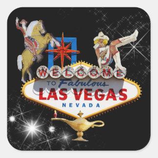 Signo positivo de Las Vegas en fondo estrellado Pegatina Cuadrada