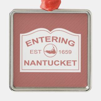 Signo positivo de Nantucket que entra en el rojo Adorno Navideño Cuadrado De Metal