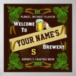 Signo positivo personalizado de la cervecería/de l posters
