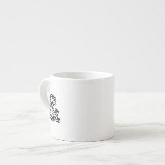 """Signo """"&"""" texturizado negro del mosaico de la hoja taza espresso"""