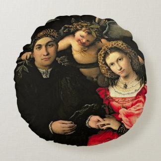 Signor Marsilio Cassotti and his Wife, Faustina Round Pillow