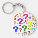 Signos de interrogación del arco iris llaveros personalizados