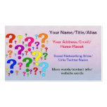Signos de interrogación del arco iris plantilla de tarjeta de visita