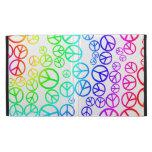 Signos de la paz coloreados arco iris retro en bla