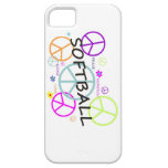 Signos de la paz coloreados softball iPhone 5 Case-Mate protector