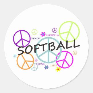 Signos de la paz coloreados softball pegatinas redondas