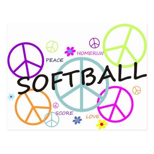 Signos de la paz coloreados softball tarjeta postal
