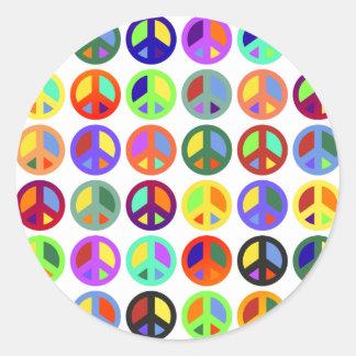 Signos de la paz coloridos pegatinas redondas