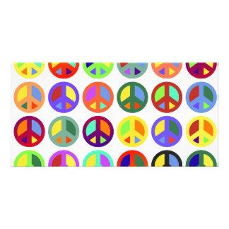 Signos de la paz coloridos tarjetas fotográficas