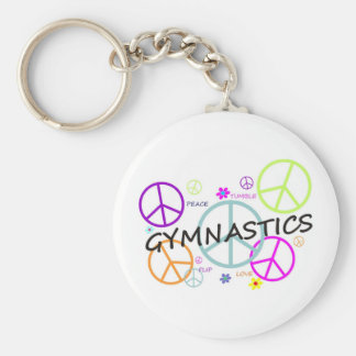 Signos de la paz de la gimnasia llavero redondo tipo pin