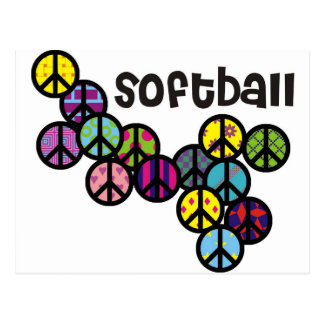 Signos de la paz del softball llenados postales