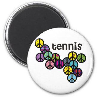 Signos de la paz del tenis llenados imán redondo 5 cm