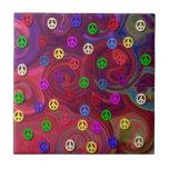 Signos de la paz en remolino colorido tejas