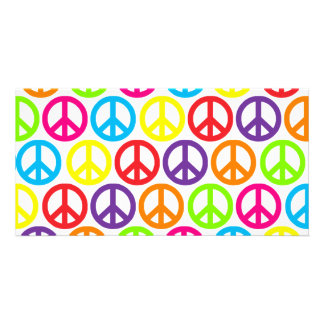 Signos de la paz multicolores múltiples plantilla para tarjeta de foto
